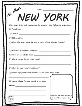 All About New York - Fifty States Project Based Learning Worksheet