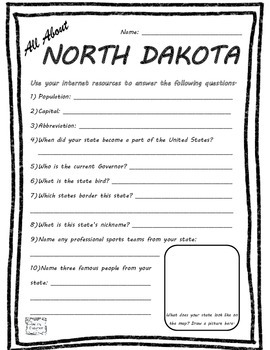 All About North Dakota - Fifty States Project Based Learning Worksheet