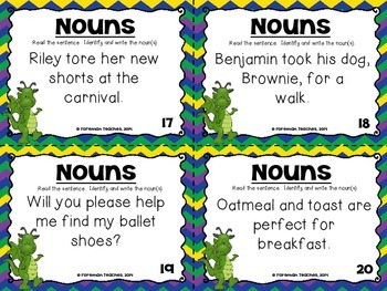 All About Nouns - 7 Sets of Task Cards