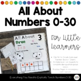 All About Numbers 0-30 for Little Learners - Anchor Charts,Books,Practice Pages
