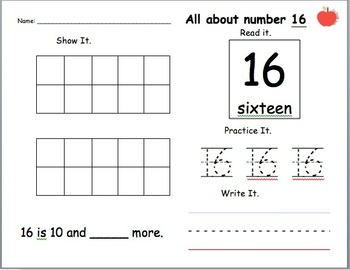 All About Numbers 11-19 Homework/ Practice/ Worksheets