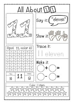 All About Numbers - 11-20 - Activity Worksheets - no prep!