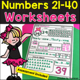 All About Numbers 21-40 + Assessment - Numebrs To 40 Worksheets