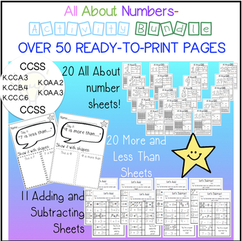All About Numbers - Activity BUNDLE - over 50 ready to print pages