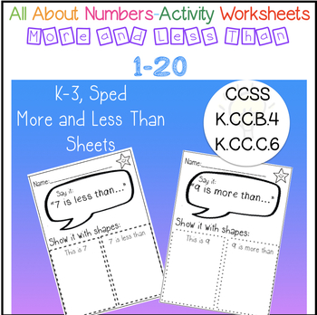 All About Numbers - More than, Less Than - 20 no prep pages