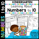 All About Numbers to 10 Worksheets NO PREP