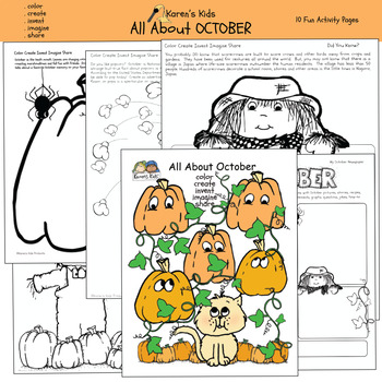 All About OCTOBER WORKSHEETS (Karen's Kids Printables)