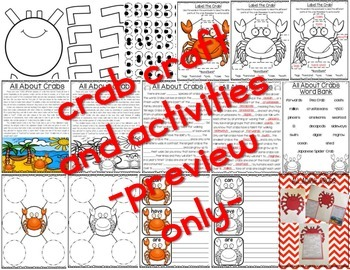 All About Ocean Animals-CRABS! (craft, writing activities, vocab. & more)