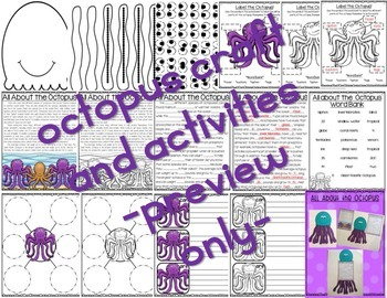 All About Ocean Animals-OCTOPUS! (craft, writing activities, vocab. & more)