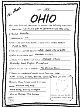 All About Ohio - Fifty States Project Based Learning Worksheet