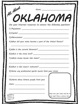 All About Oklahoma - Fifty States Project Based Learning Worksheet