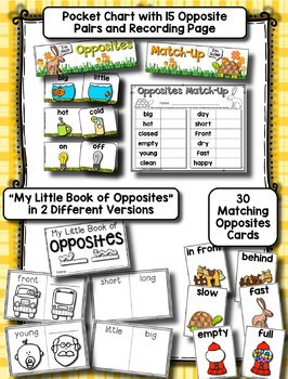 All About Opposites --- Matching Cards, Pocket Chart Set and Opposites Book