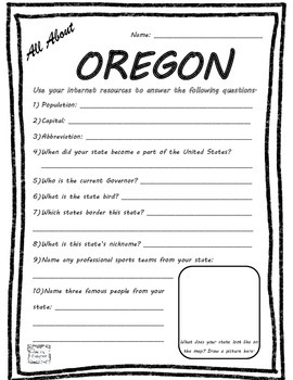 All About Oregon - Fifty States Project Based Learning Worksheet