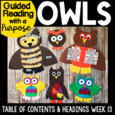 Owls Guided Reading with a Purpose Non-fiction Text Features