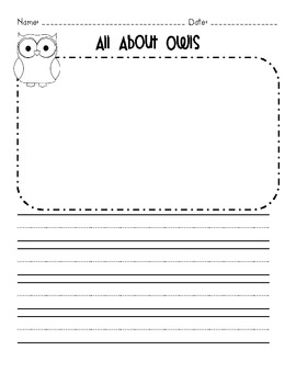 All About Owls Non-fiction Book and Writing