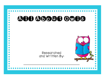 All About Owls Nonfiction Writing Book
