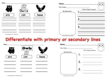 All About Owls, Writing Prompts, Graphic Organizers, Diagram