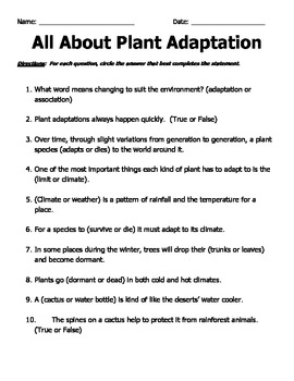 All About Plant Adaptations
