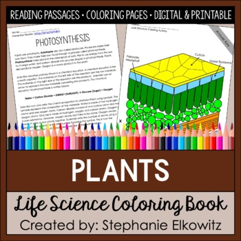 Plants Coloring And Reading Unit By Stephanie Elkowitz TpT