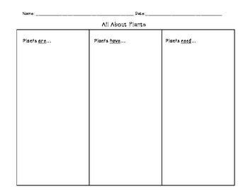 All About Plants Graphic Organizer