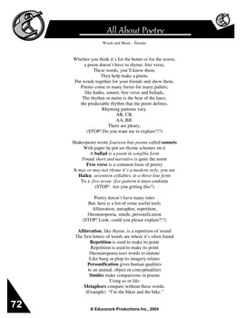 All About Poetry - Resource Package (10 pages plus answers)