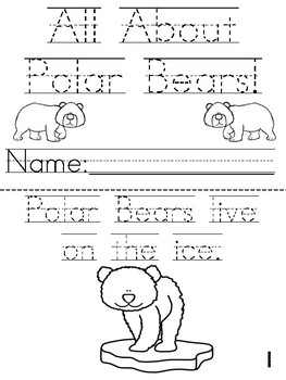"""All About Polar Bears""  Cut, Trace and Color Printable Book!"