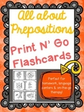 All About Prepositions- Print N' Go Flashcards