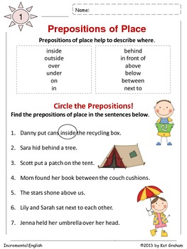 All About Prepositions of Place Workbook - Common Core Aligned