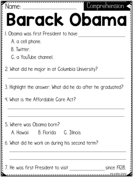 All About Presidents *FREEBIE*