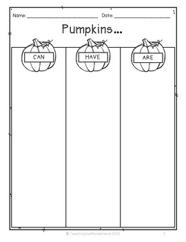 All About Pumpkins Activity Packet