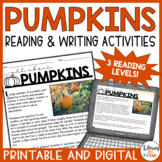 All About Pumpkins Reading and Writing Activities | Informational Text