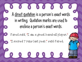All About Quotations:  posters, worksheets, task cards, assessments