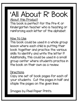 All About R | Alphabet Recognition Book