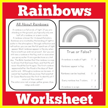 All About Rainbows Worksheet