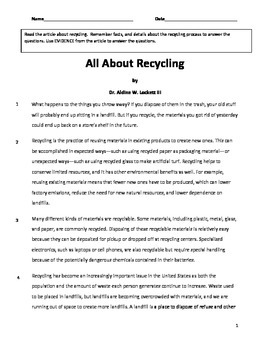 All About Recycling Common Core Reading Comprehension