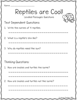 All About Reptiles: CCSS Aligned Leveled Reading Passages and Activities