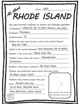 All About Rhode Island - Fifty States Project Based Learning Worksheet