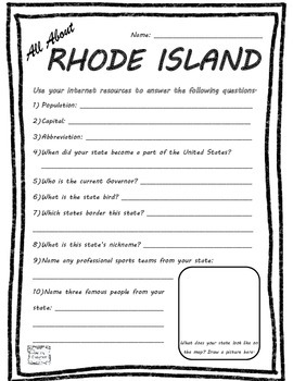 All About Rhode Island - Fifty States Project Based Learni