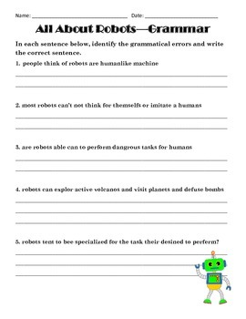 All About Robots Complete ELA Unit - Great for Test Review - Common Core Aligned