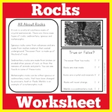 Rocks and Minerals Worksheet Activity