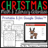 Christmas Math and Literacy Activities Printable and for Google Slides™