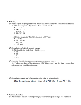 All About Segments and Angles - Study Guide/Test Prep/Classwork Packet