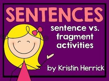 All About Sentences: Sentence vs. Fragment Activities