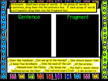 All About Sentences Smart Notebook Lesson