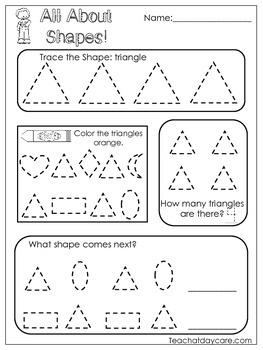 All About Shapes Worksheets. 10 Shapes Worksheets. Preschool-Kindergarten.