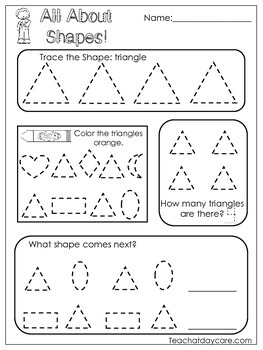 All About Shapes Worksheets. 10 Shapes Worksheets. Preschool-Kindergarten.
