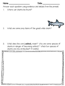 All About Sharks ~ A Non-Fiction Reading Assessment Prompt