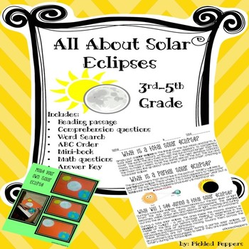 All About Solar Eclipses Printables Reading Passage Math Activities 3-5 Grade