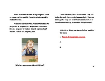 All About Solids Informational Text Answer Key