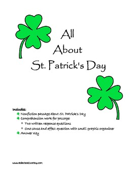 All About St. Patrick's Day Reading Comprehension